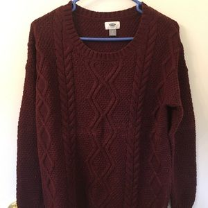 Old Navy scoop neck burgundy Woven knit sweater